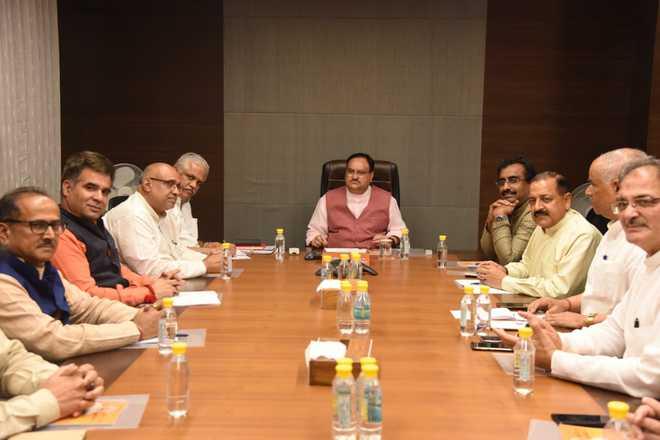 सर्वदलीय बैठक से पहले नड्डा के साथ हुई जम्मू-कश्मीर के भाजपा नेताओं की बैठक