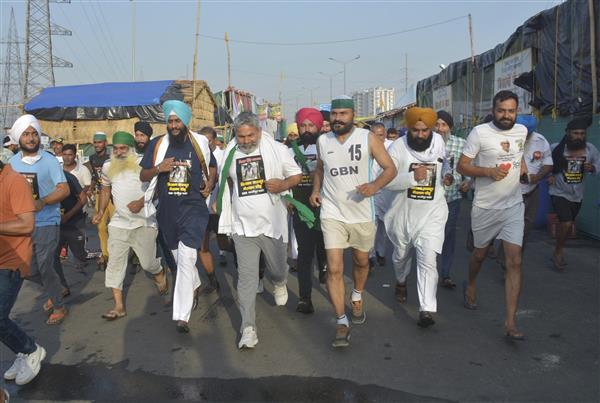 गाजीपुर बार्डर पर किसान एकता मोर्चा ने लगायी किसान-मजदूर मैराथन दौड़